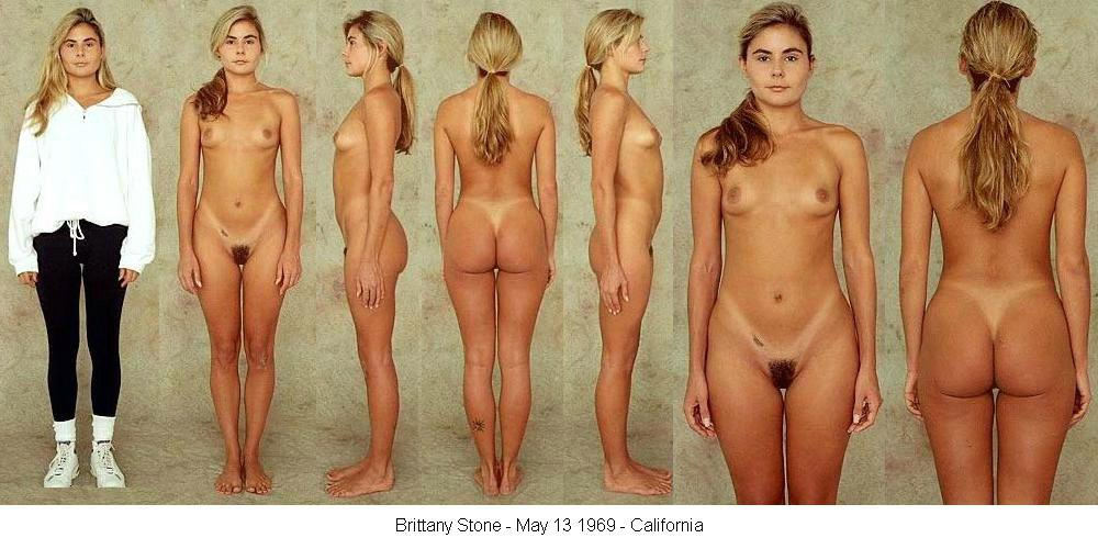 Female body nude posture line up