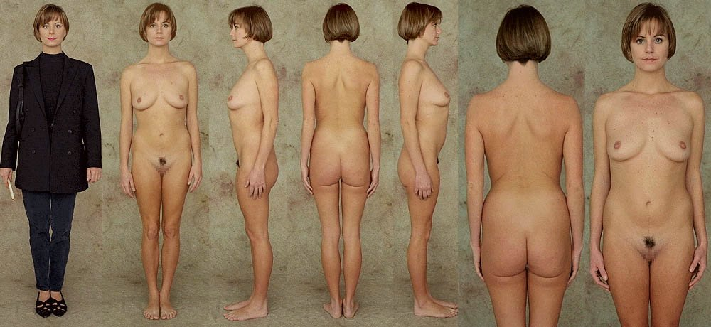 Nude female body dressed undressed line up
